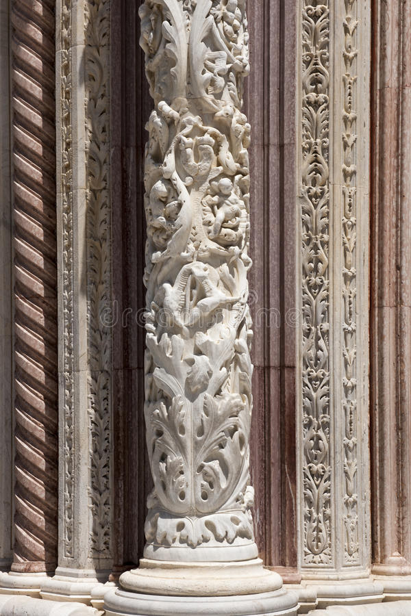 Pillar Cathedral of Siena stock image