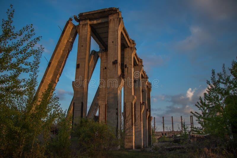 Pillar of a collapsed bridge. Scene royalty free stock image