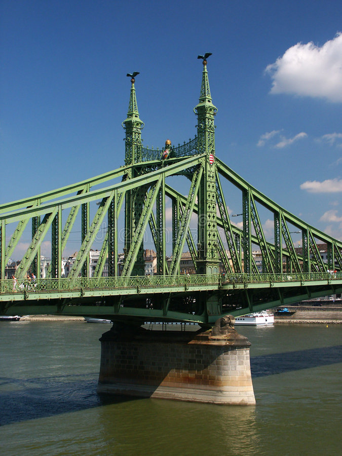 Download Pillar of Freedom Bridge stock image. Image of boat, clouds - 44405