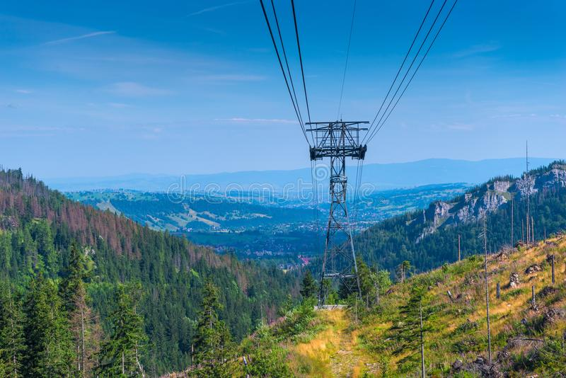 The pillar of the funicular in the Tatra Mountains. Poland royalty free stock photo