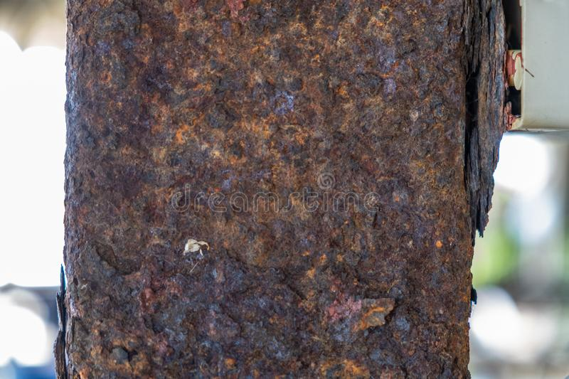 Pillar of Panoramic grunge rusted metal texture, rust and oxidized metal background. Old metal iron panel stock photo