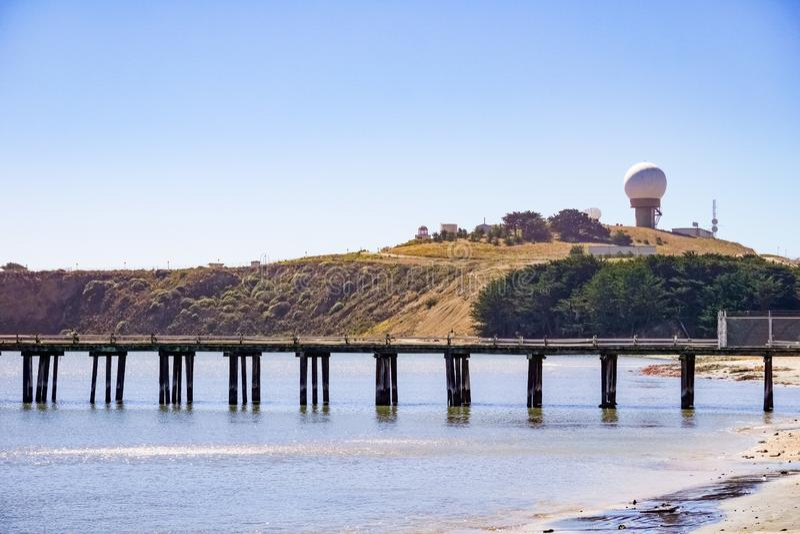 Pillar Point bluff, Pacific Ocean coastline, Half Moon Bay, California stock photography