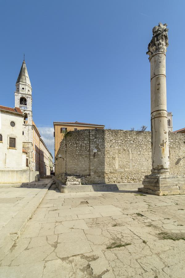 Pillar of shame Zadar. Pillar of Shame in front of the St Elias`s Church in Zadar, Croatia stock images