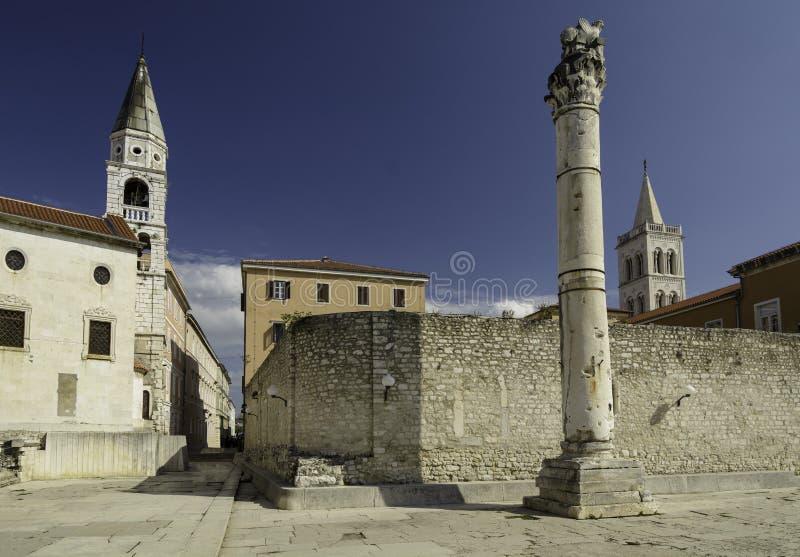 Pillar of shame Zadar. Pillar of Shames in front of the St Elias`s Church in Zadar, Croatia stock image