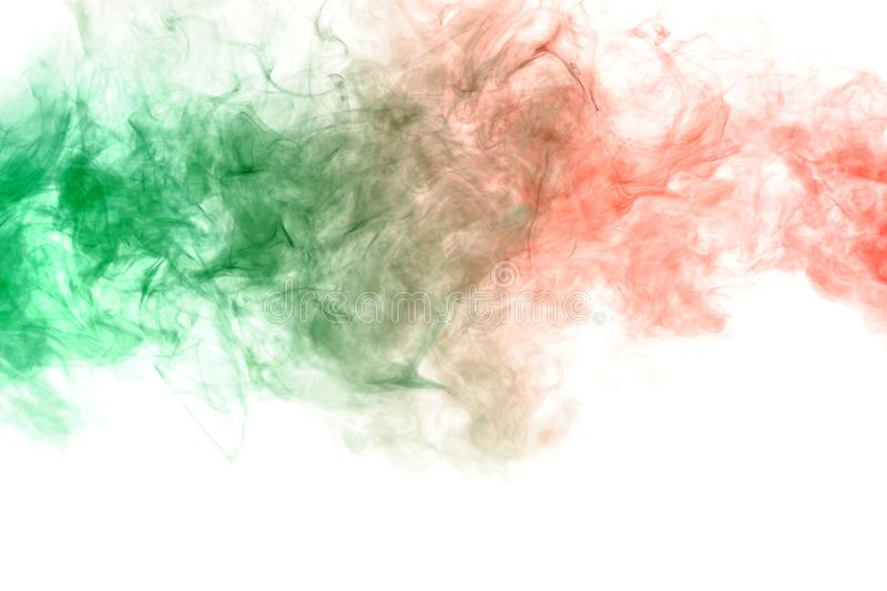 Pillar of smoke colliding in red and green on a white background. Print for t-shirt. Toxic ink. Horizontal pillar of smoke colliding in red and green on a white stock photo