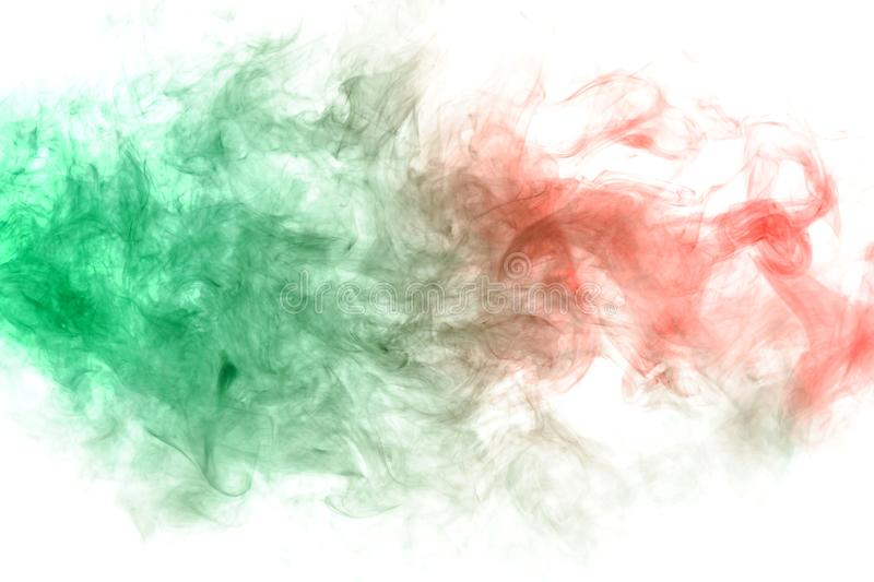 Pillar of smoke colliding in red and green on a white background. Print for t-shirt. Toxic ink. Horizontal pillar of smoke colliding in red and green on a white royalty free stock photos