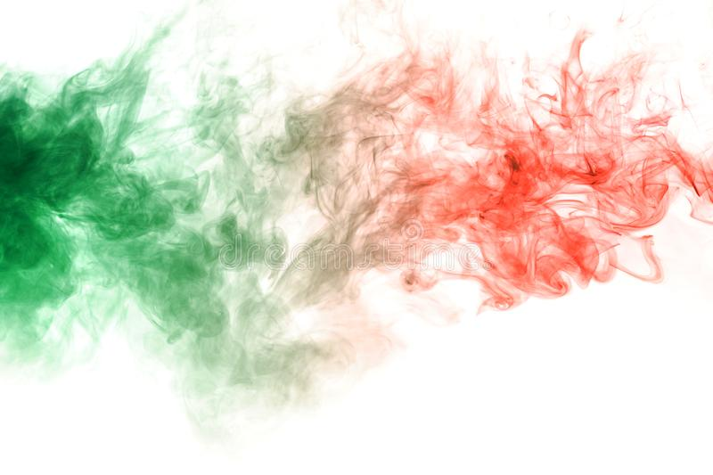 Horizontal pillar of smoke colliding in red and green on a white background. Print for t-shirt. Toxic ink. Pillar of smoke colliding in red and green on a white stock images