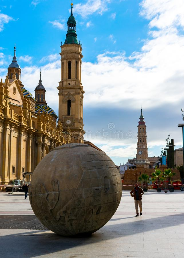 Zaragoza, Spain/Europe; 12/1/2019: Pillar Square Plaza del PIlar and the Basilica of Our Lady of the Pillar in the downtown of stock photo