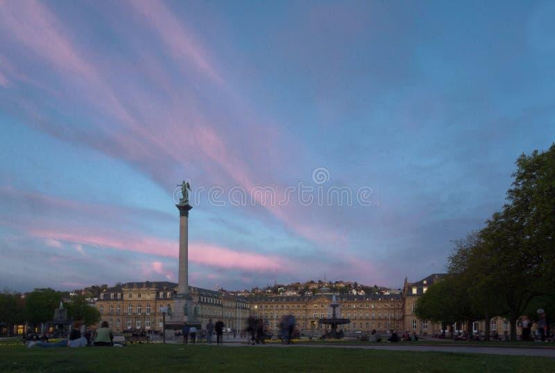 Pillar with sunset beautiful sky. German stuttgart city Pillar with sunset beautiful sky stock image