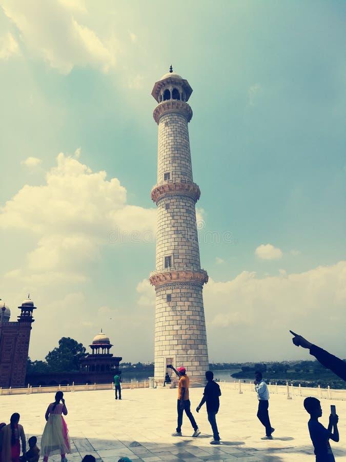 Pillar of Taj Mahal palace Agra, India. Built, mughal, architecture stock photo