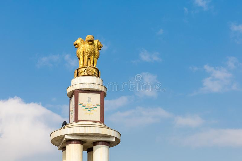 Pillar for the 50th anniversary of India, Chennai, Tamil Nadu. India, Chennai, Tamil Nadu, India stock photo