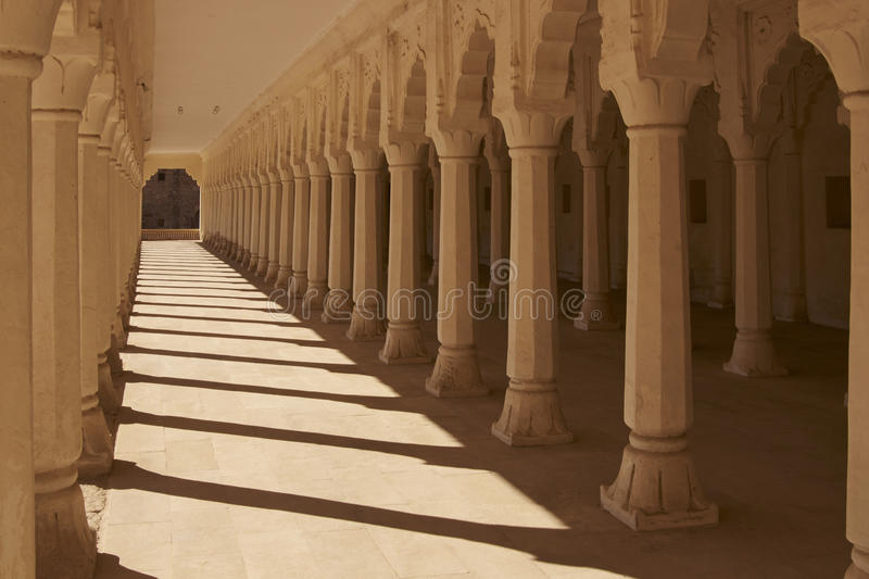 Pillared Hall in Nagaur, India. Pillared Hall inside the historic Nagaur Fort and Palace complex in Rajasthan, India. Buildings date from 16th -18th centuries royalty free stock photos