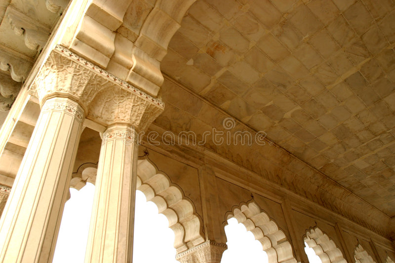 Pillars. In Indian fortress stock photo