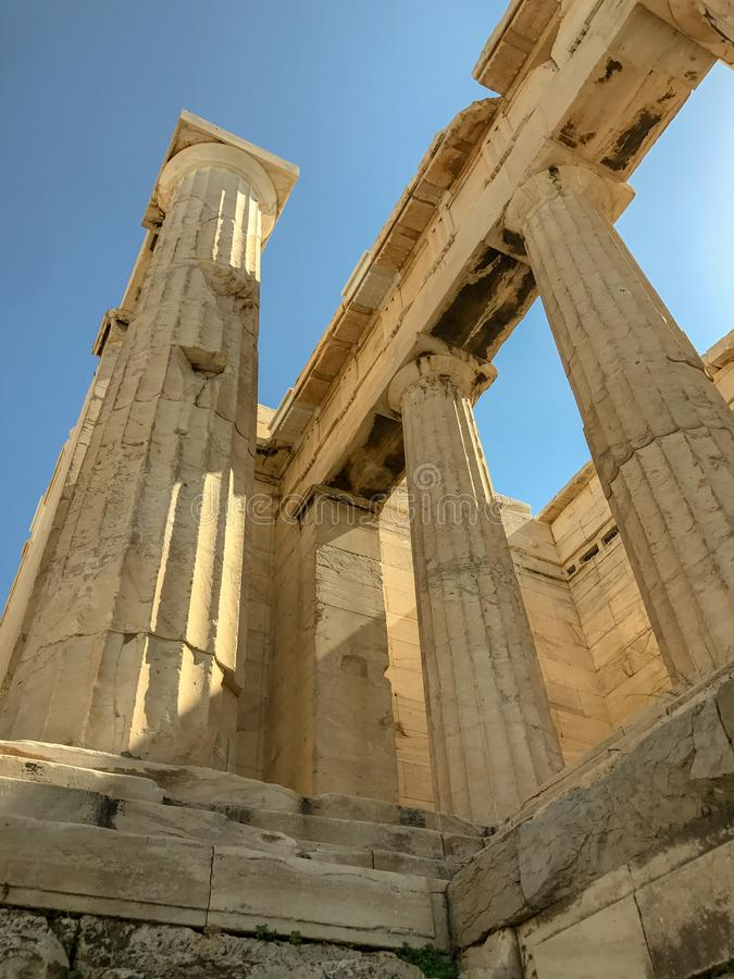 Pillars of the Acropolis in the sunlight. Oct 2017: Pillars of the Acropolis in the sunlight of Athens, Greece royalty free stock image