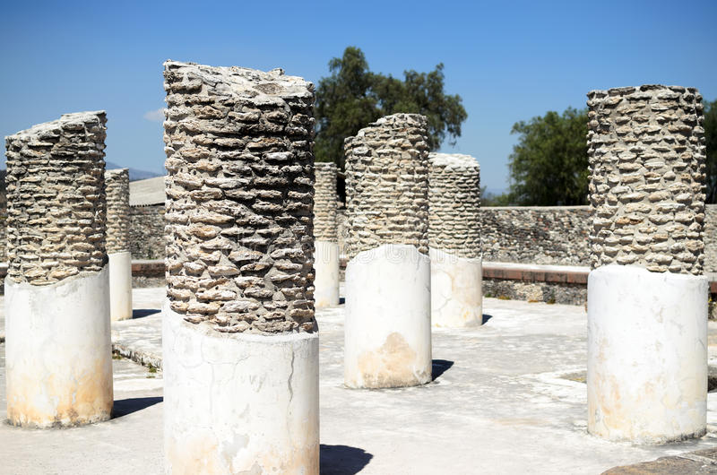 Pillars in ancient Toltec city in Tula stock photos