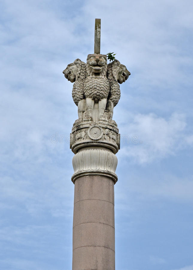Pillars of Ashoka. The pillars of Ashoka are a series of columns dispersed throughout the Indian subcontinent, erected or at least inscribed with edicts by the stock photo