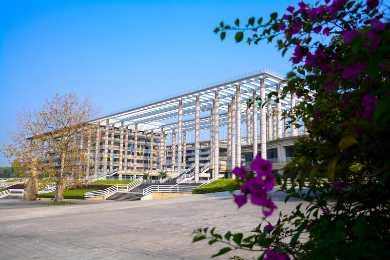 Only the pillars of the building. Guangdong University of technology by the former Guangdong University of technology, Guangdong Mechanical College and South stock image