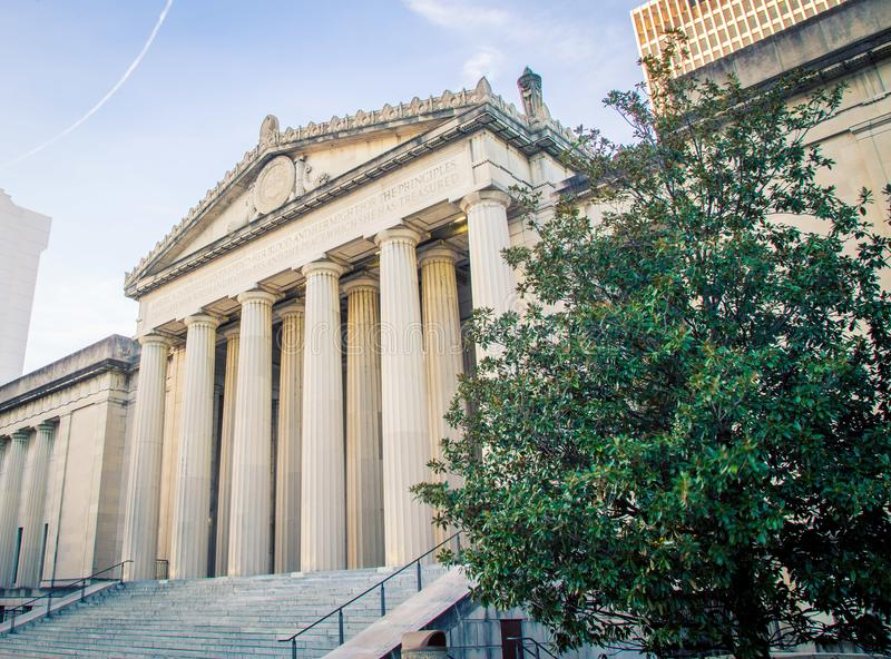 Pillars on a building. Pillars on a museum in Nashville Tennessee stock images