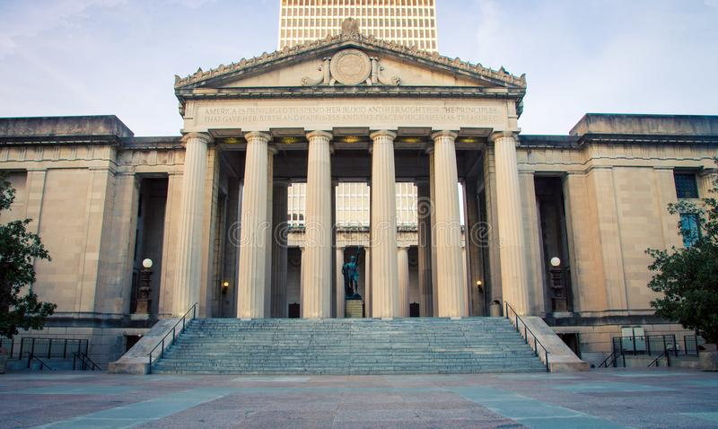 Pillars on a building. Pillars on a museum in Nashville Tennessee stock photos