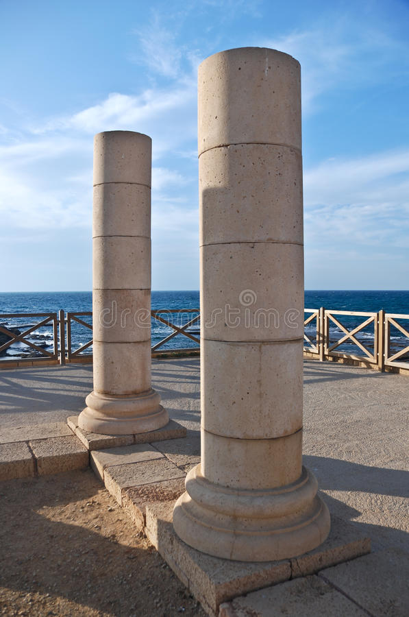 Pillars in Caesarea. Old ancient pillars in Caesarea National Park is located alongside the Mediterranean Sea - Israel royalty free stock photos