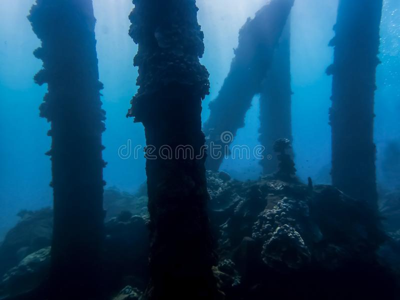 Pillars from Collapsed Pier Crusted with Coral Underwater in Blu. Crusted pier pilings from collapsed pier in silhouette underwater in blue sea royalty free stock image