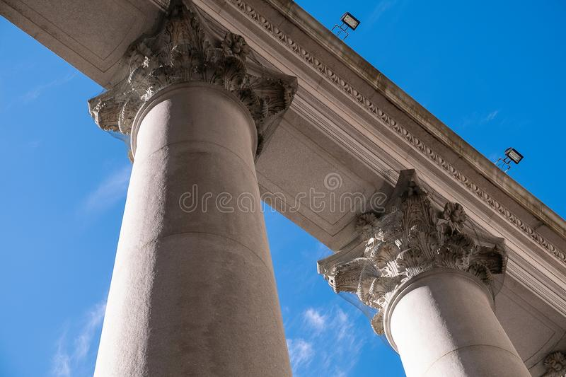 Pillars of courthouse stock images