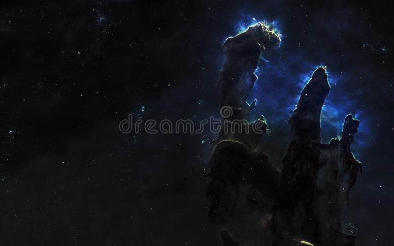 Pillars of creation, nebulae, star clusters. Beautiful space landscape. Elements of the image were furnished by NASA. Pillars of creation, nebulae, star clusters royalty free stock photography