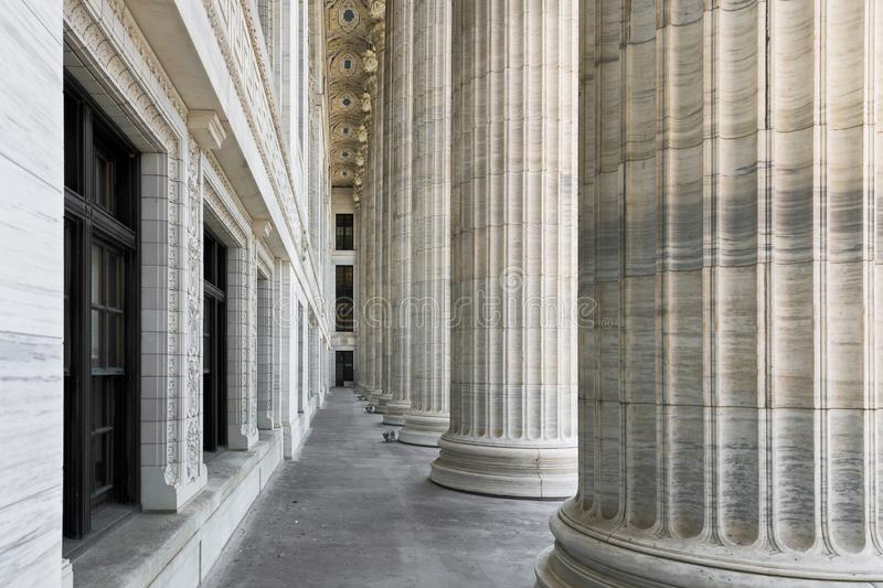 Pillars in downtown Albany. Pillars outside the New York State Education Department building on Washington Avenue in Albany, New York stock photos