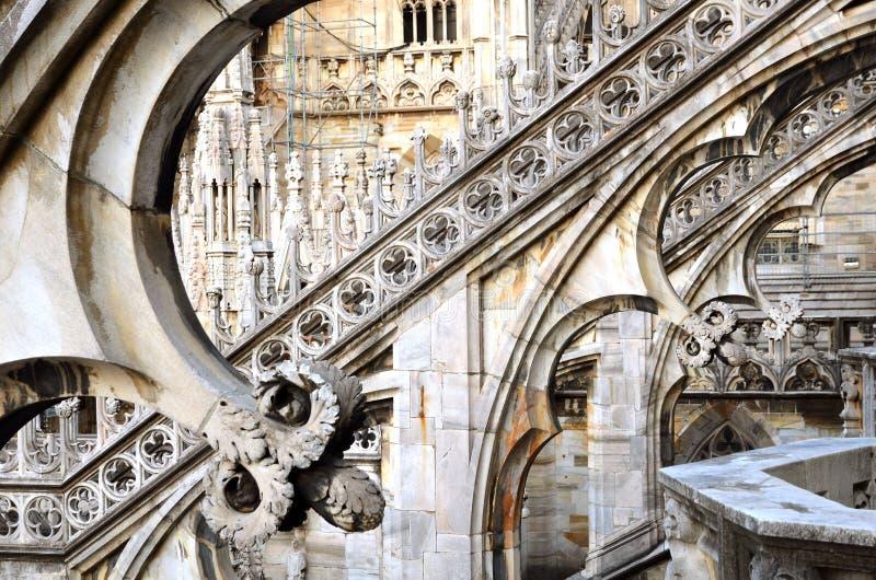 Pillars on Duomo roof Milano royalty free stock images