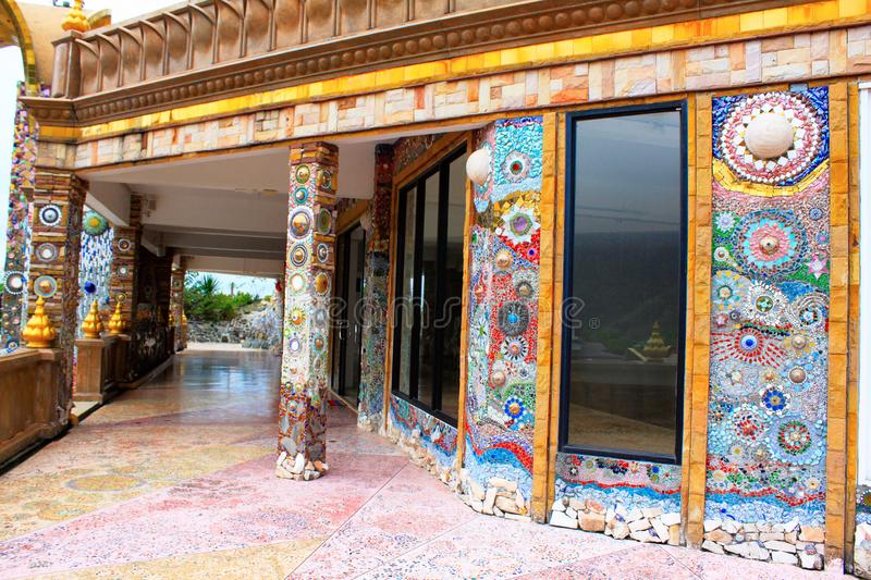 Pillars, floors, facades, walls decorated with colorful mosaic design Pha Sorn Kaew, Khao Kor, Phetchabun, Thailand. Pillars, floors, facades, walls decorated royalty free stock images