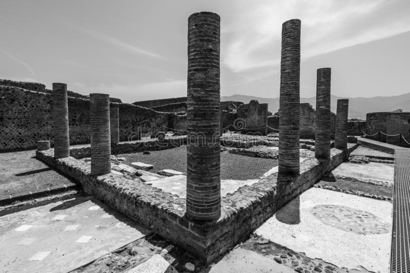 Ruins of Pompeii, Italy in black and white royalty free stock images