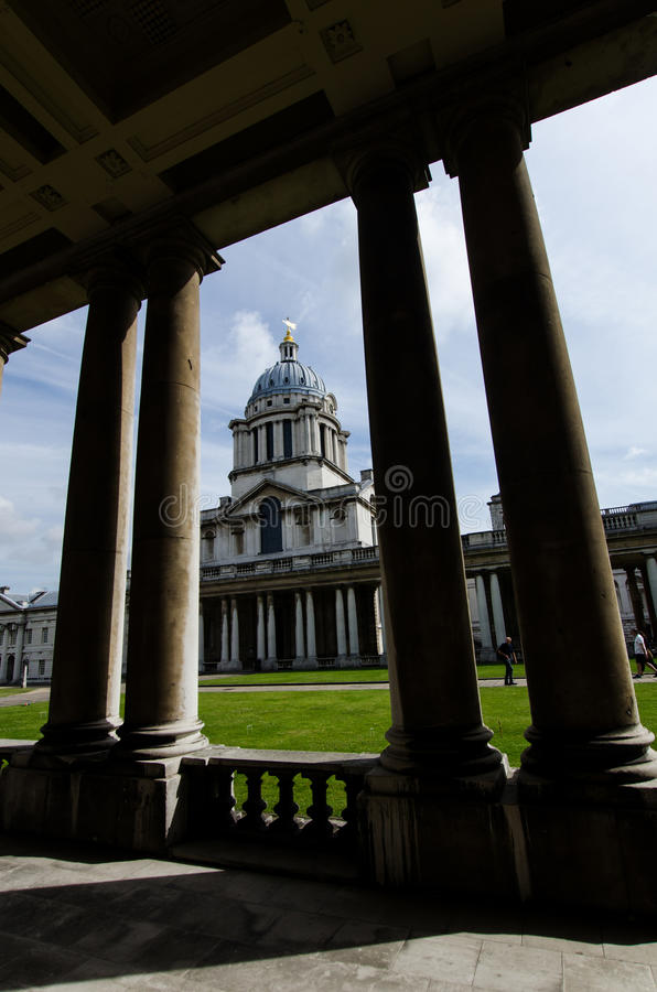 Pillars in Greenwich University campus, London, England royalty free stock photography