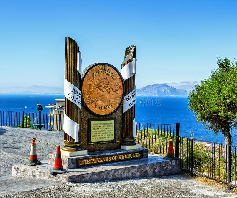 The Pillars of Hercules Monument in Gibraltar, a British Overseas Territory stock images