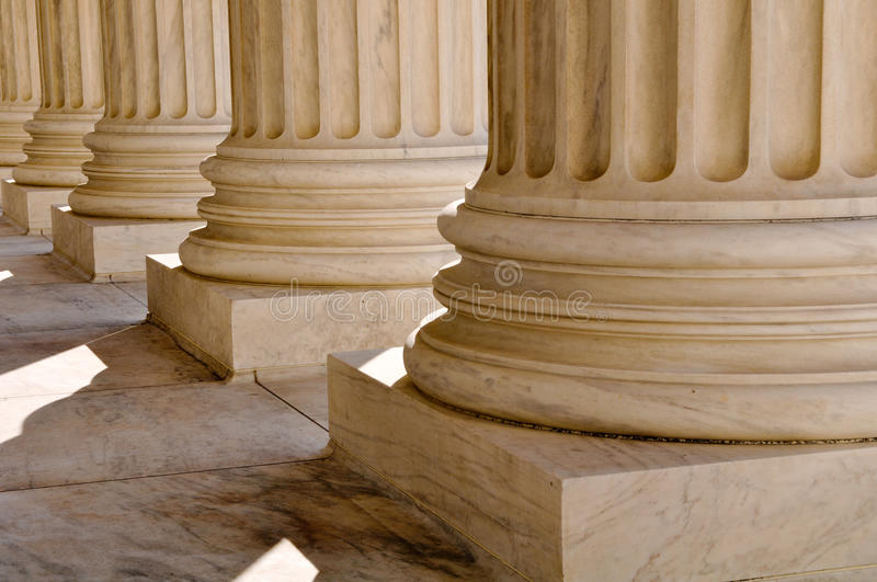 Pillars of Law and Information stock photography