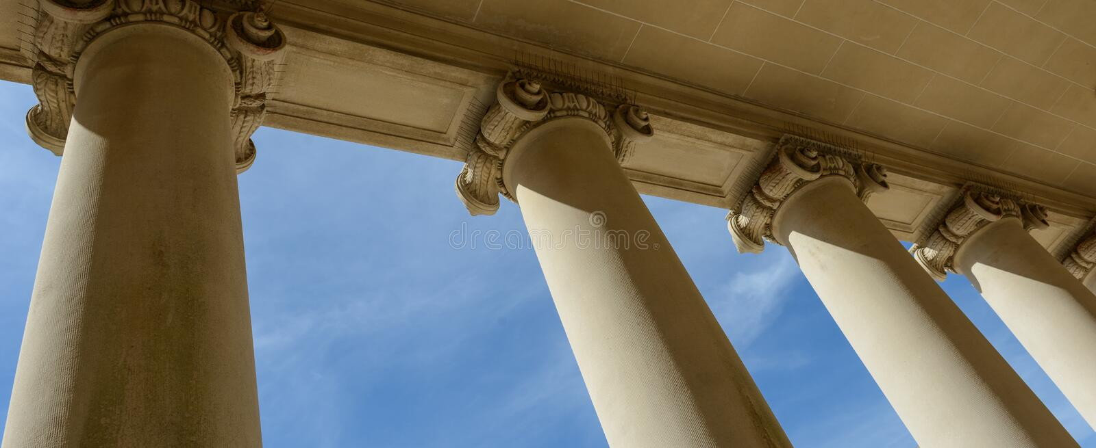 Pillars of Law and Justice. With Blue Sky stock photography