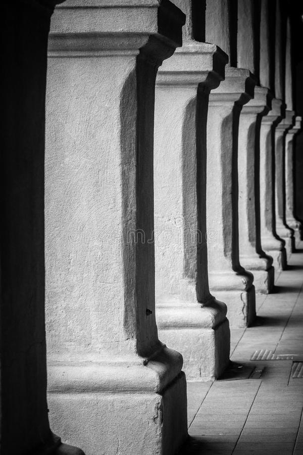 Repeating pillars. Pillars near the Museum of Man in Balboa Park in San Diego, California repeat a pattern royalty free stock photo