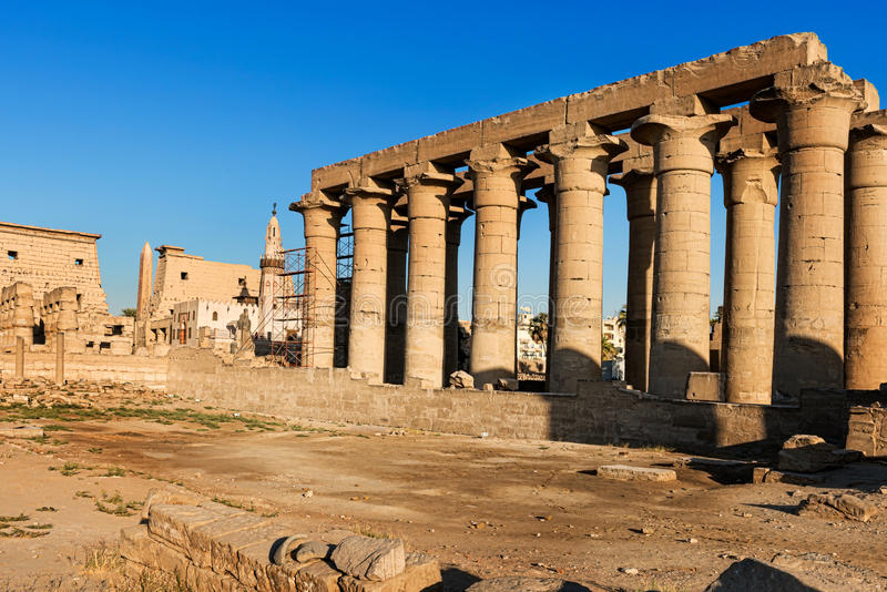 Pillars and obelisk at Luxor Temple in Egypt royalty free stock photo