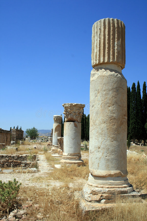 Pillars In Pamukkale Stock Photography