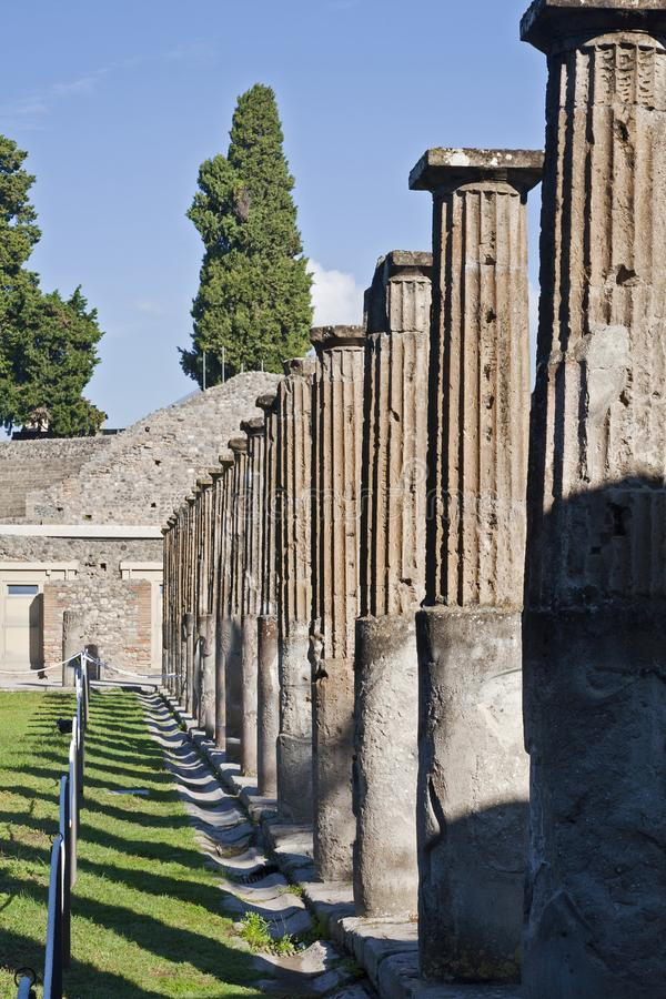 Pillars at Pompeii royalty free stock photo