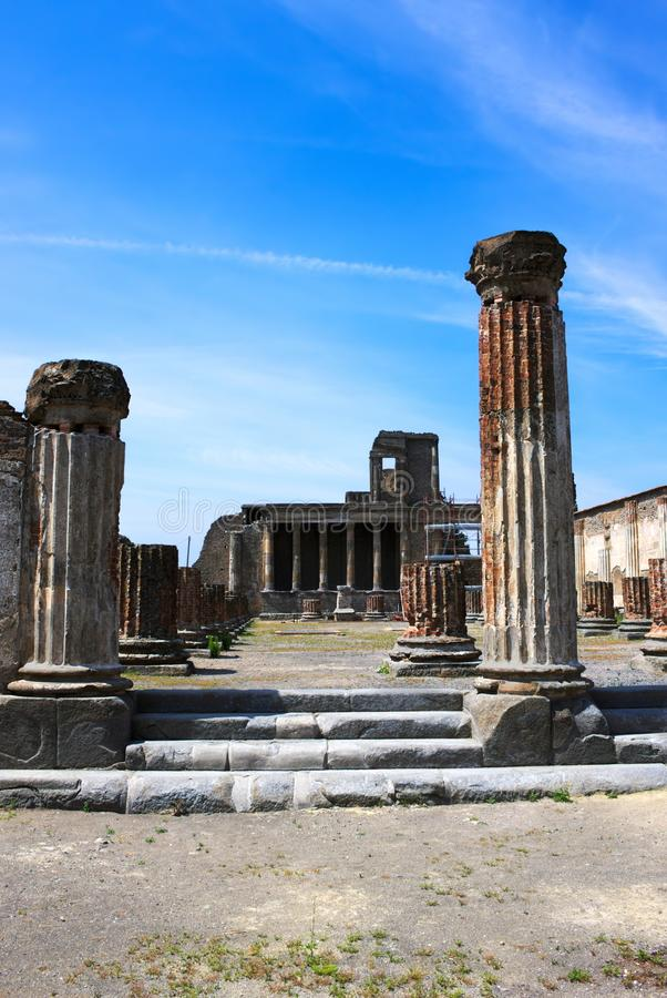 Pillars of Pompeii-VIII-Italy. Pompeii was an ancient city in Campania on the Gulf of Naples, which like Herculaneum, Stabiae and Oplontis was buried during the stock photos