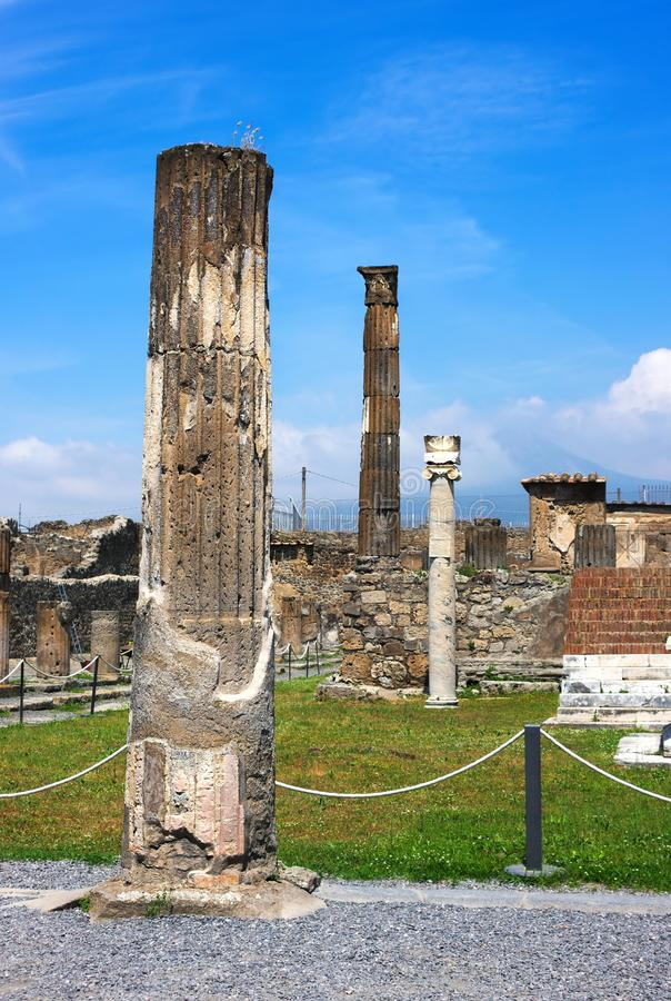 Pillars of Pompeii-VIX-Italy. Pompeii was an ancient city in Campania on the Gulf of Naples, which like Herculaneum, Stabiae and Oplontis was buried during the stock photography