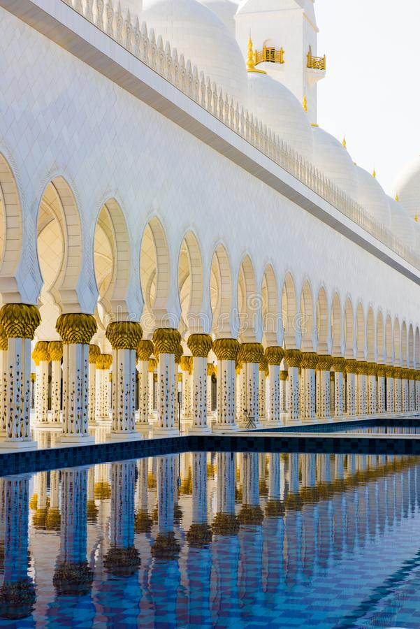 Sheikh Zayed Mosque, Abu Dhabi, Pillars reflecting in Pool, Architecture of Grand Mosque Abu Dhabi. Pillars of Sheik Zayed Mosque, Grand Mosque, Abu Dhabi stock photos