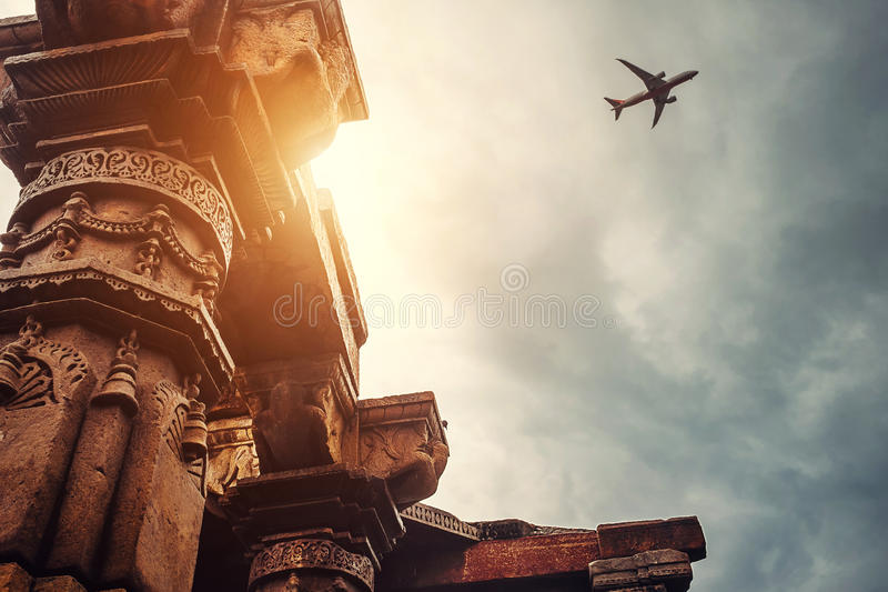 Pillars of the temple complex Qutb Minar on the Sky View stock photography