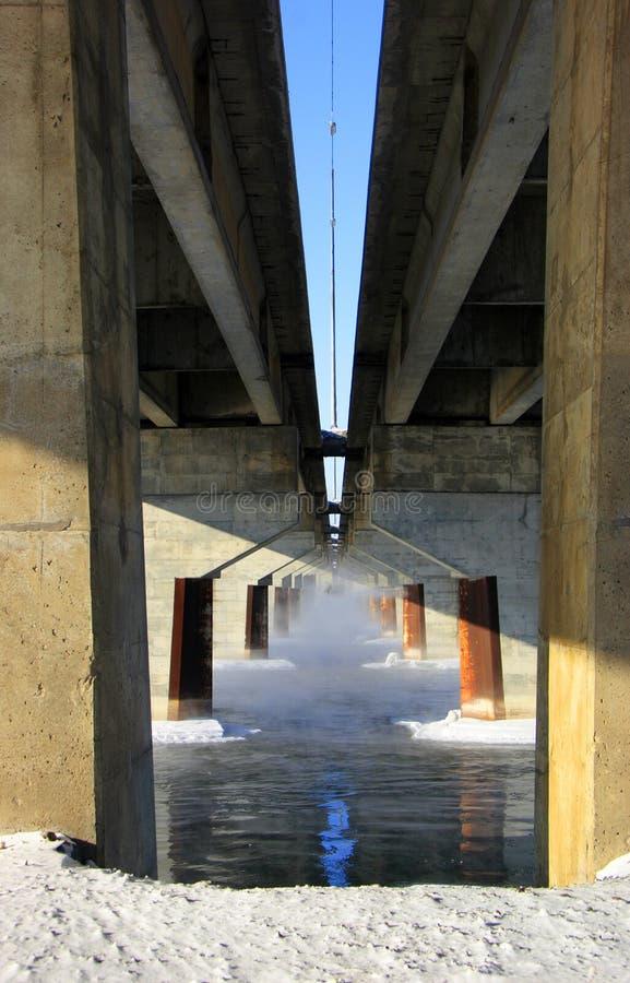 Pillars Under Bridge Royalty Free Stock Images