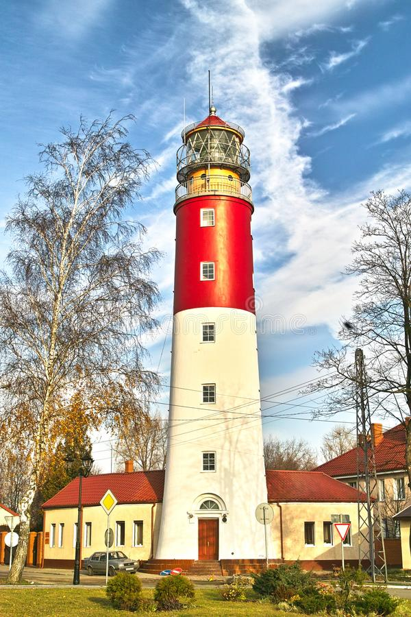 Pillau Lighthouse. Lighthouse Pillau. 1813, begins the construction of a lighthouse in stone. The foundation was made of giant granite blocks, surrounded by royalty free stock images