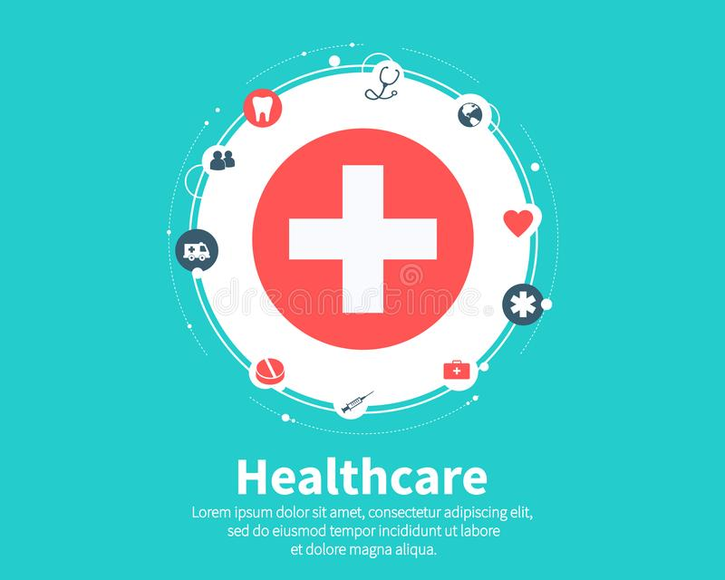 Pille im hand Medizinisch, Gesundheit, Sorgfalt, Medizin, Netz und globale Konzepte Flaches Karikaturdesign, Vektor stock abbildung