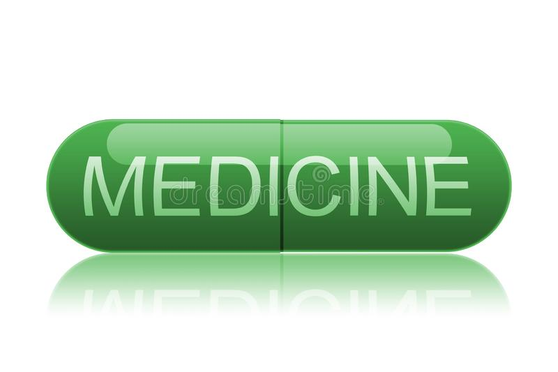 Pille mit dem Aufkleber medizinisch lizenzfreie abbildung