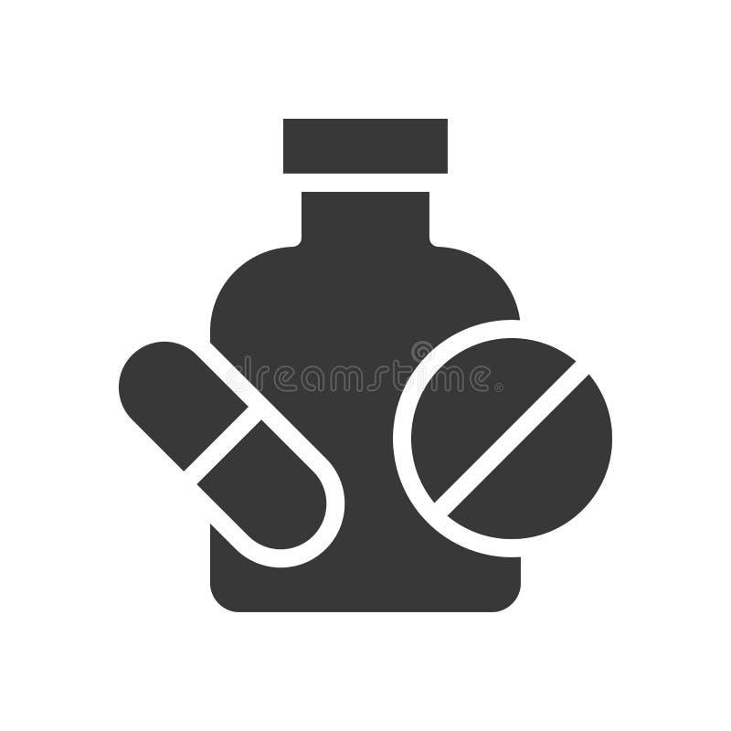 Pille mit Flasche, medizinische in Verbindung stehende feste Ikone stock abbildung