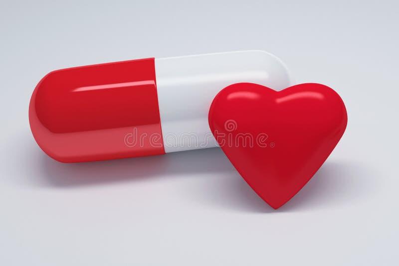 Pille mit rotem Herzen vektor abbildung