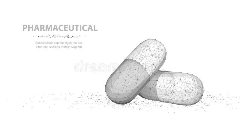 Pillen Abstrakte 3d Kapselpillen der Illustration zwei lokalisiert auf weißem Hintergrund stock abbildung